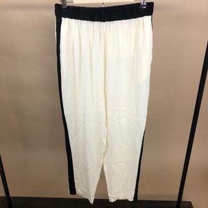 Ramy Brook Silk Tuxedo Stipe Pull on Pants Med